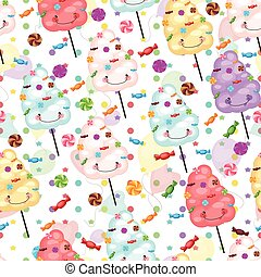 Baby gift seamless background of cotton candy, candy and...