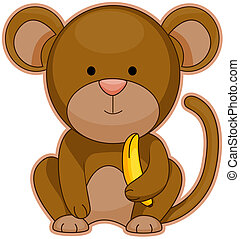 Monkey with Banana with Clipping Path