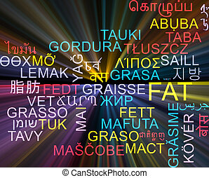 Fat multilanguage wordcloud background concept glowing