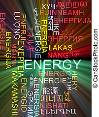 Energy multilanguage wordcloud background concept glowing