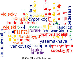 Rural multilanguage wordcloud background concept