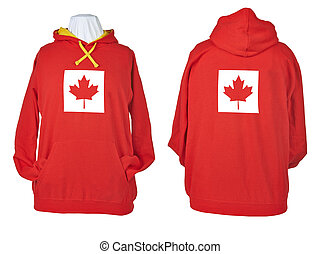 Two side of wrinkled flagged Canada Red shirts - Two side of...