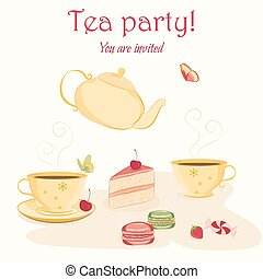 Elegant tea party invitation template with teacups and...