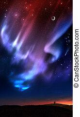 Auroras over the hills - Fictional illustration of auroras...
