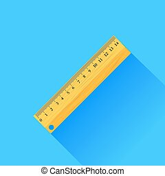 Wooden Ruler Isolated on Blue Background Long Shadow
