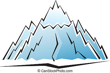 Mountain icon with ice illustration