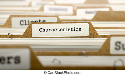 Characteristics Concept with Word on Folder -...