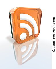 orange RSS sign - a 3d render of an orange RSS sign