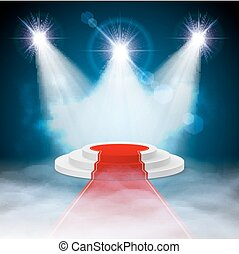 Podium - Round stepped white podium with red carpet and...