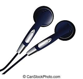 Earbuds - Pair of simple dark eardubs. Linear and radial...