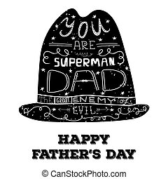 Print for fathers day - Hat with hand lettering for Fathers...
