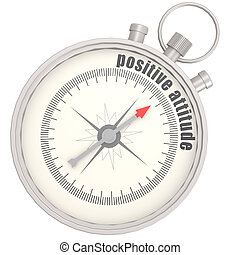Positive attitude compass image with hi-res rendered artwork...