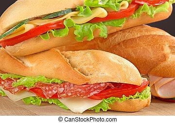 sándwiches, con, sabroso, rellenos,