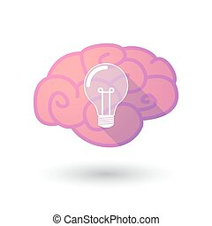 Brain icon with a light bulb - Illustration of a pink brain...