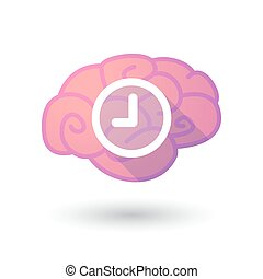 Brain icon with a clock - Illustration of a pink brain with...
