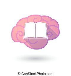 Brain icon with a book - Illustration of a pink brain with a...