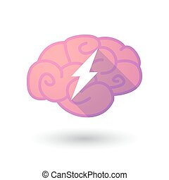 Brain icon with a lightning - Illustration of a pink brain...