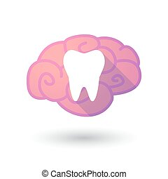 Brain icon with a tooth - Illustration of a pink brain with...