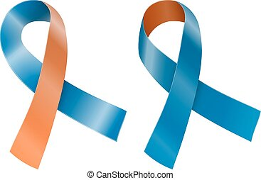 Ribbon - Orange and navy blue ribbon Human rights for family...