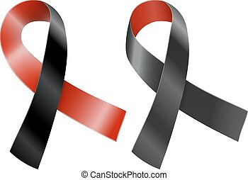 Ribbon - Red and black ribbon. Survivors of Homicide Victims...
