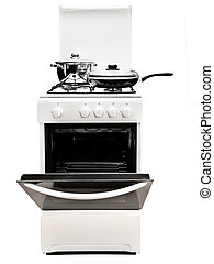 gas stove - frying pan and pot at the white gas stove over...