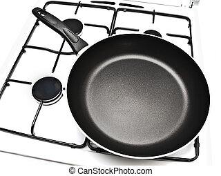 frying pan at gas stove