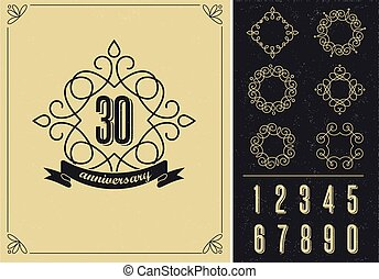 anniversary - art line background with frames - anniversary...