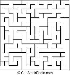 Black maze - Black thin maze. Vector illustration.
