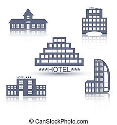 Hotel buildings flat design set - Hotel buildings flat...