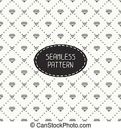 Monochrome hipster fashion geometric seamless pattern with...