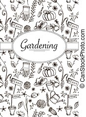 Vector card with retro garden elements in black and white