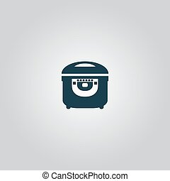 Electric Cooker icon on gray background.