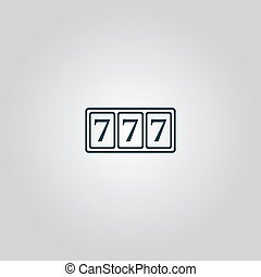 Simple icon 777 - fortune 777 Flat web icon or sign isolated...