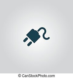 power cord. Flat web icon or sign isolated on grey...