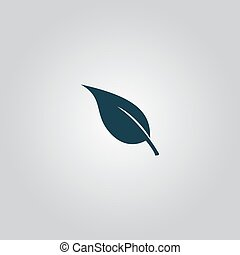 Leaf Icon - Simple Leaf Flat web icon or sign isolated on...