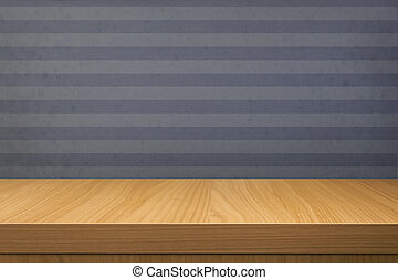 Empty wooden table over vintage blue wallpaper with stripes