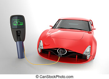 Red electric sports car charging in charging station.