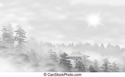 UFO in a landscape of misty forest at sunrise - concept of...