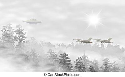 UFO in a landscape of misty forest at sunrise, fighter jets...