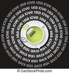 cup of  heart in green tea