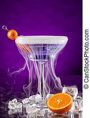 Martini drink served on glass table - Martini drink with dry...