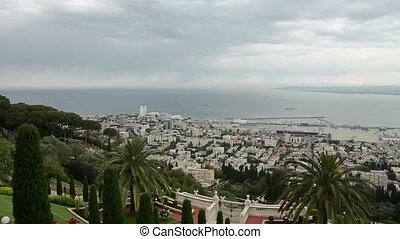 Panorama of Haifa and Bahai garden. Israel