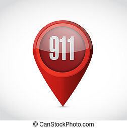 911 pointer sign concept illustration design over white