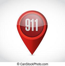 911 pointer sign concept illustration design over white