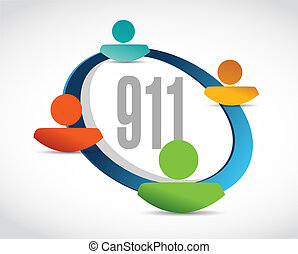 911 help line sign concept illustration design over white