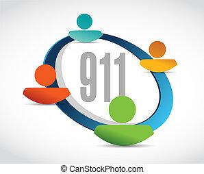 911 help line sign concept illustration design over white