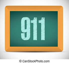 911 board sign concept illustration design over white
