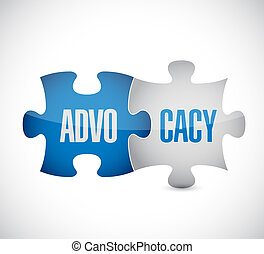 advocacy puzzle pieces sign concept illustration design over...