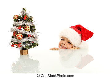 Happy boy with little christmas tree