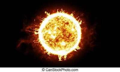 Sun with Solar protuberances and explosions. HD 1080. Looped...